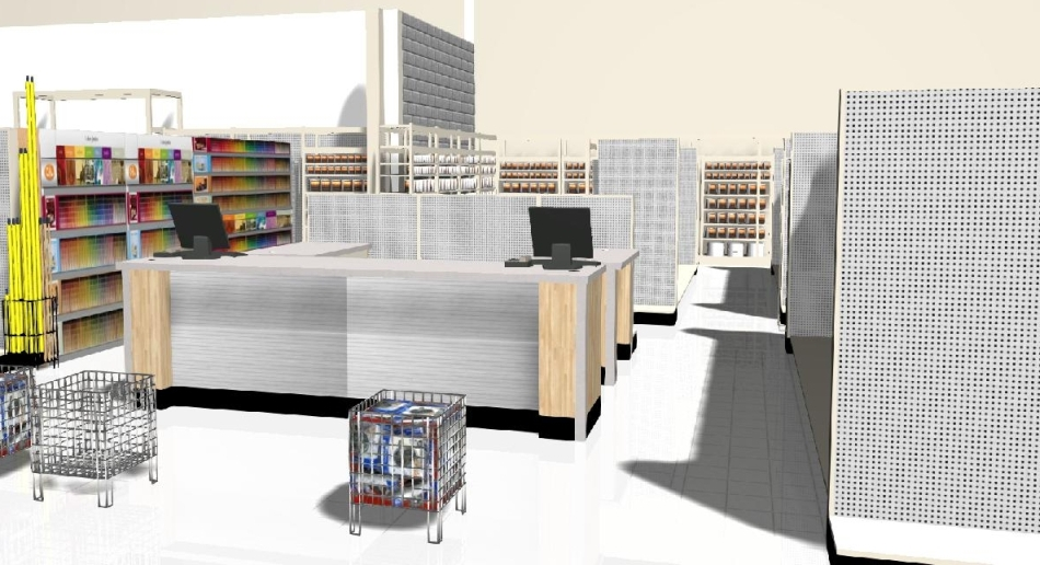 3D paint counter showing customer POV.