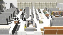 A variety of 3D images of store interiors.