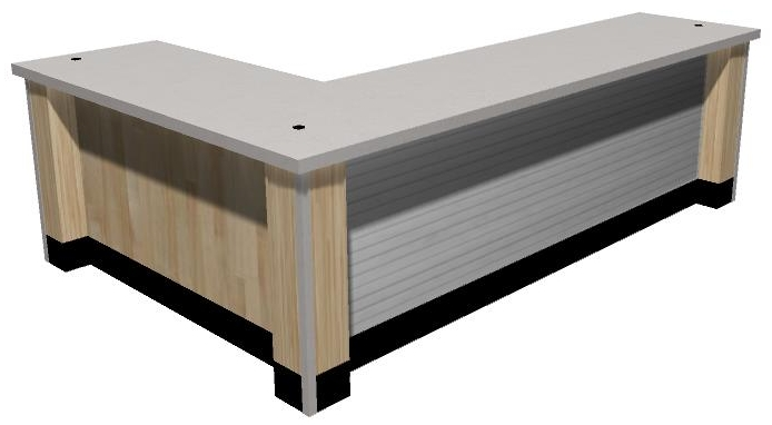 3-D corner counter with slot wall front option