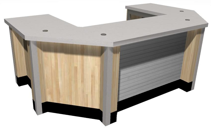 Corral style center counter. This design was created to replace an existing counter in a store.