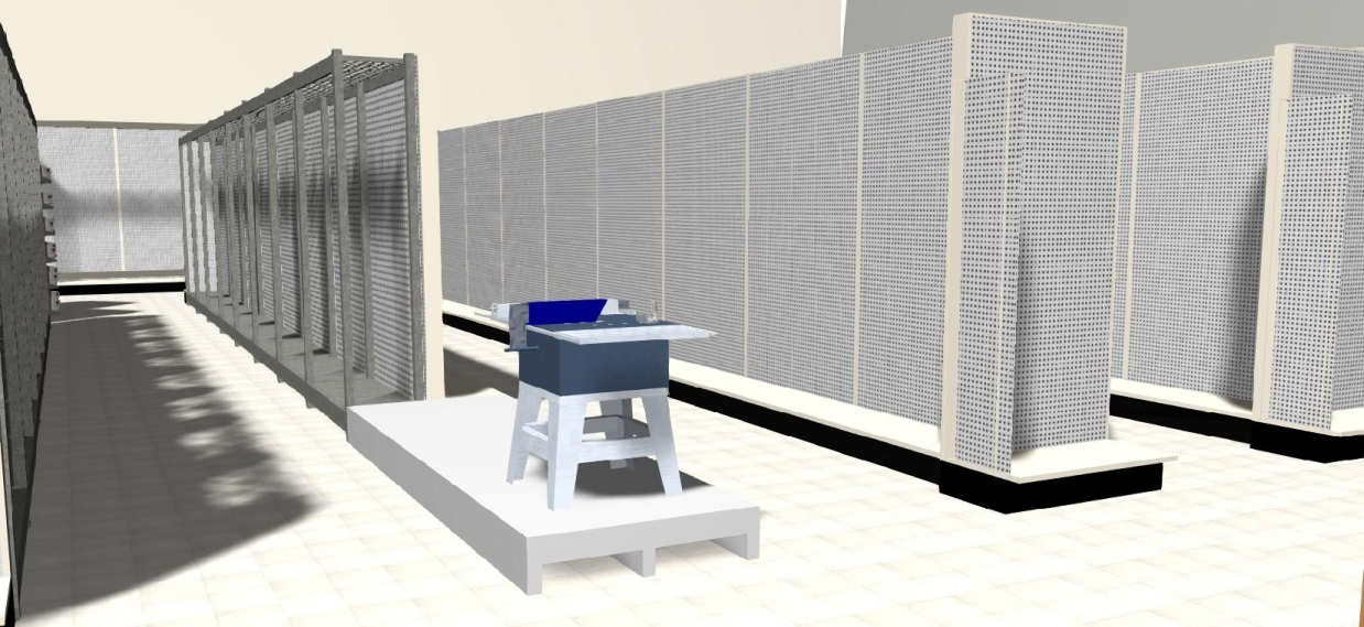 3D gondola and MRS shelving, display platform and profit panels.